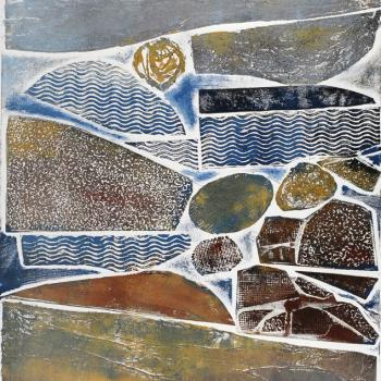 """Elemental, collagraph print, 15"""" x 20"""", 2013"""