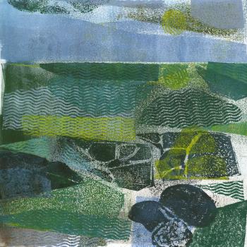 "Rocks, Sea, Sky, collagraph monotype print, 18"" x 18"", 2012"
