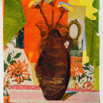 Kitchen Vase, collage over monotype with chine colle, 2008, Best in Show at Harlow Gallery Annual Juried Show, available.